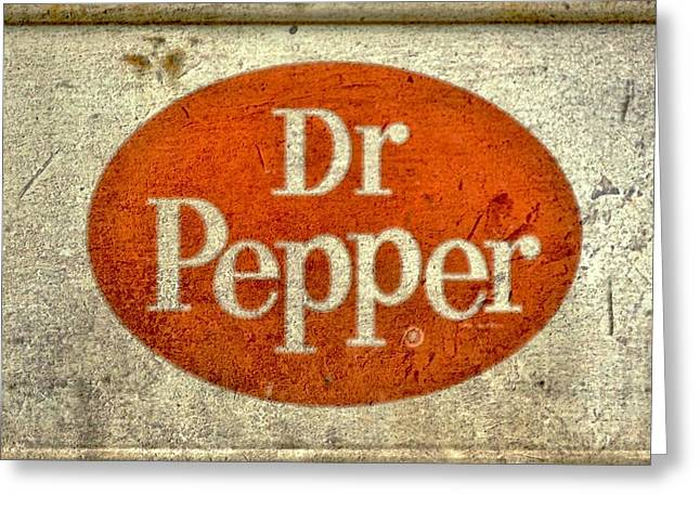 Fizz Mixed Media Greeting Cards - Dr Pepper Sign Greeting Card by Todd and candice Dailey