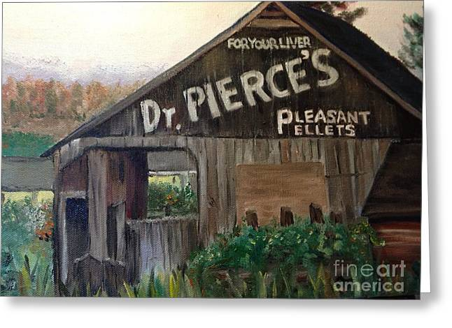 Pill Paintings Greeting Cards - Dr. Pierces liver pellets Greeting Card by Ramona Treat