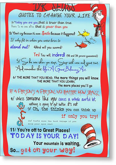 Fish Digital Art Greeting Cards - Dr Seuss - Quotes to Change Your Life Greeting Card by Georgia Fowler