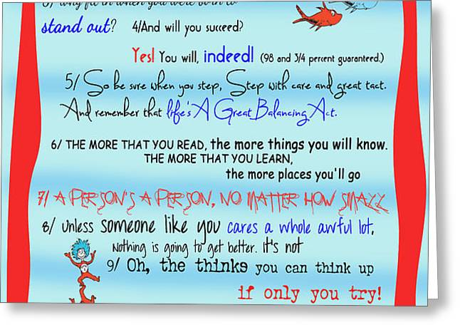 Dr Seuss - Quotes to Change Your Life Greeting Card by Georgia Fowler