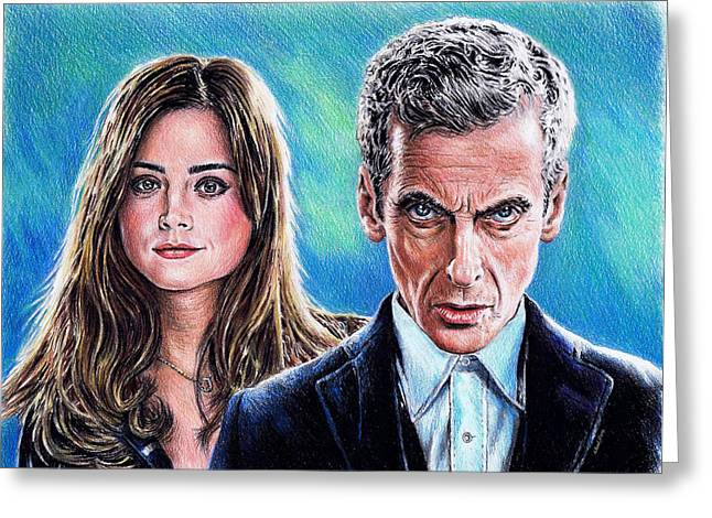 Brunette Drawings Greeting Cards - Dr Who and Clara Greeting Card by Andrew Read
