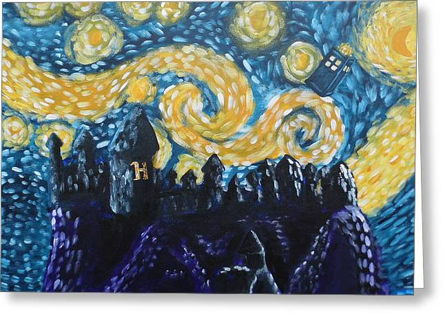 Police Cartoon Greeting Cards - Dr Who Hogwarts Starry Night Greeting Card by Jera Sky