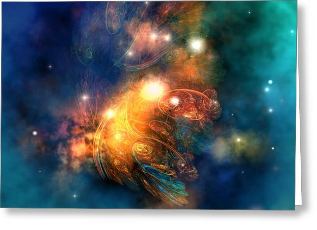 Interstellar Space Digital Art Greeting Cards - Draconian Nebula Greeting Card by Corey Ford