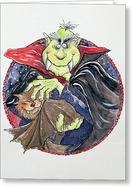 Fangs Greeting Cards - Dracula, 1998 Mixed Media Greeting Card by Maylee Christie