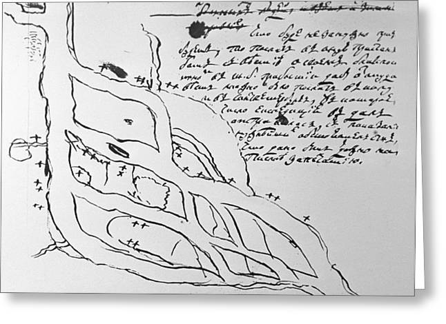 Ink Drawing Greeting Cards - Draft map made by Lomonosov Greeting Card by Science Photo Library