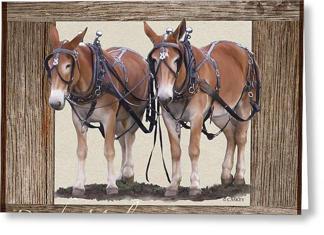 Donkey Mixed Media Greeting Cards - Draft Mules Greeting Card by Bethany Caskey
