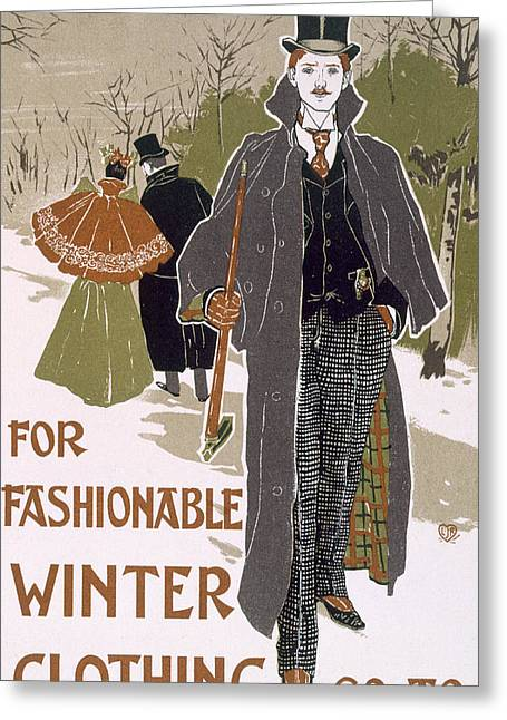 Draft Poster Design For A Winter Clothing Company Greeting Card by Louis John Rhead