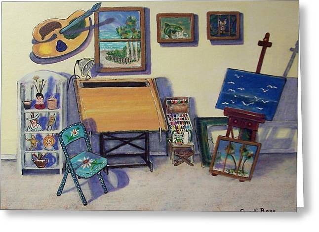 Basement Art Paintings Greeting Cards - Drafting Table Greeting Card by Sandi Ragg