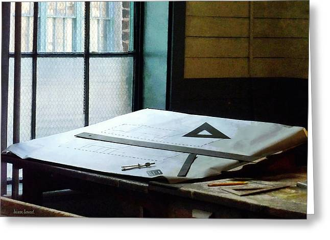 Education Greeting Cards - Drafting - Triangle Ruler and Compass Greeting Card by Susan Savad