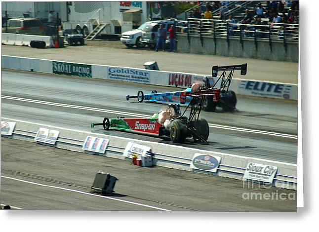 Funny Car Greeting Cards - Drag race Greeting Card by Micah May
