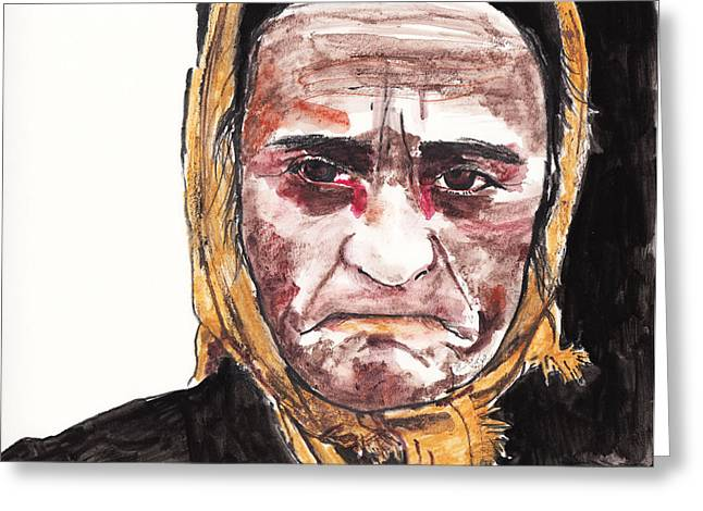 Oppression Drawings Greeting Cards - Dragica Kostadinovic Greeting Card by Nancy Mergybrower
