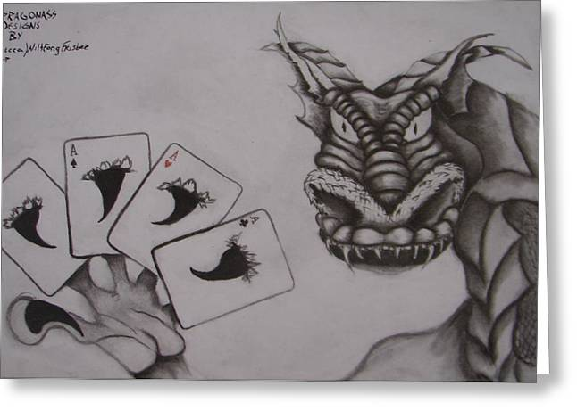 Tablets Drawings Greeting Cards - Dragnass designs 2 -4 Aces Greeting Card by Rebecca Wiltfong Frisbee