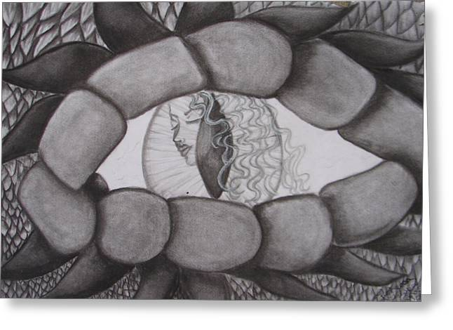 Tablets Drawings Greeting Cards - Dragnass Designs 3 through the Dragons Eye Greeting Card by Rebecca Wiltfong Frisbee