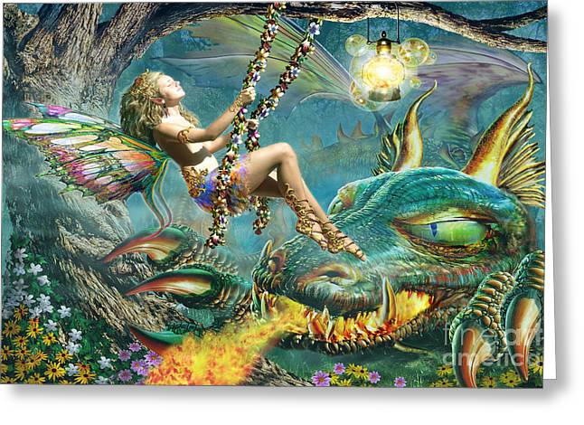 Leisure Digital Greeting Cards - Dragon and Fairy Swing Greeting Card by Adrian Chesterman