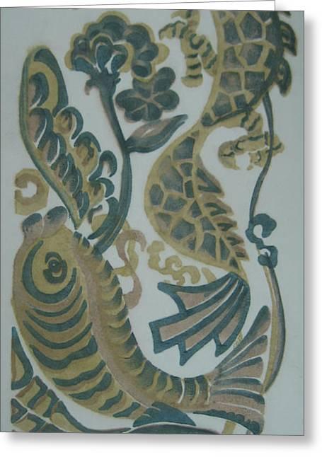 Original Greeting Cards - Dragon and Fish Greeting Card by Ousama Lazkani