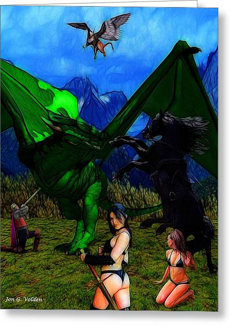 Dungeons Greeting Cards - Dragon  Battle Greeting Card by Jon Volden