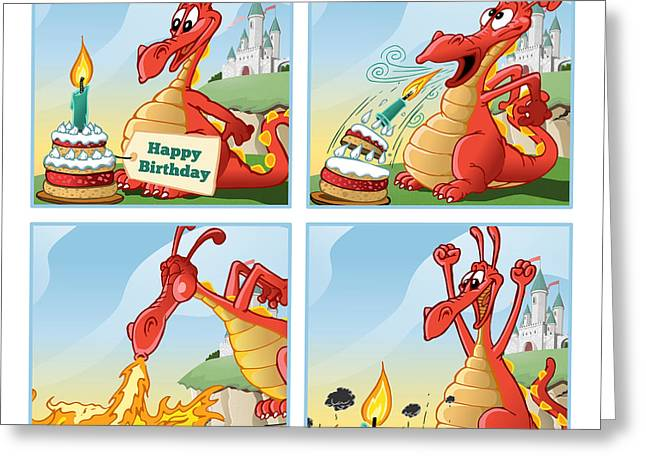 Breathing Mixed Media Greeting Cards - Dragon Blows Out Birthday Cake Greeting Card by David Spier