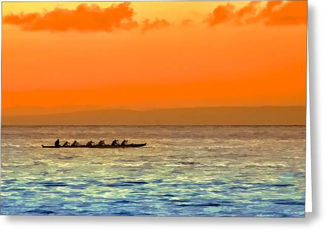 Kayta Kobayashi Greeting Cards - Dragon boat on the Pacific Greeting Card by Kayta Kobayashi
