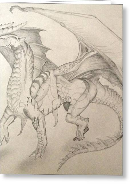 Jogging Drawings Greeting Cards - Dragon Greeting Card by Caitlin Mitchell
