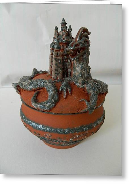 Fantasy Ceramics Greeting Cards - Dragon castle can Greeting Card by Keramik Sonnenscheindesign