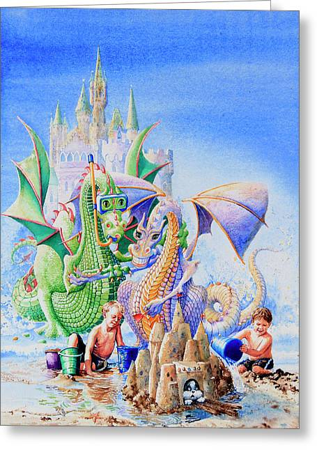 Sand Castles Paintings Greeting Cards - Dragon Castle Greeting Card by Hanne Lore Koehler