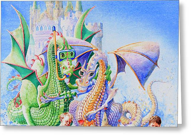 Dragon Castle Greeting Card by Hanne Lore Koehler