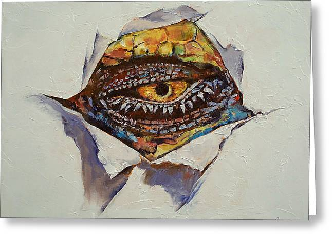 Dragon Eye Greeting Card by Michael Creese