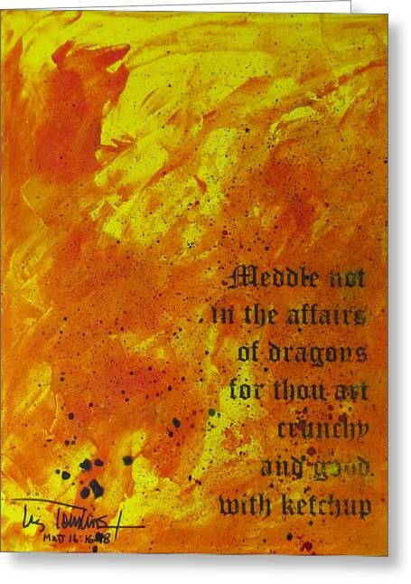 Breathing Mixed Media Greeting Cards - Dragon Fire Greeting Card by Liz Tomlinson