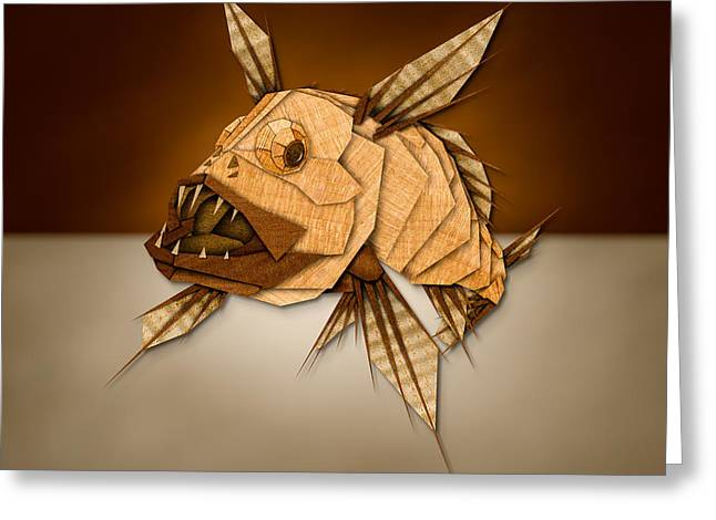Lionfish Greeting Cards - Dragonfish in Wood Greeting Card by Yo Pedro