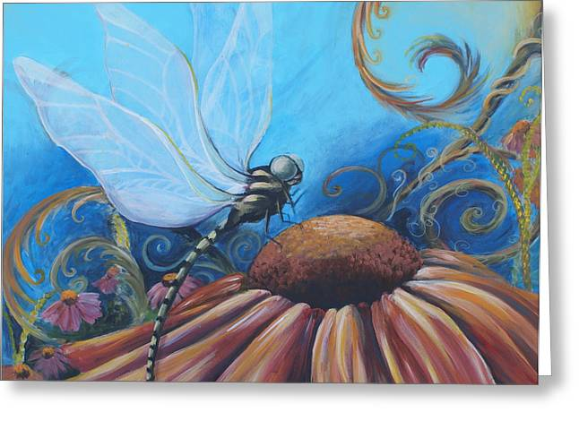 Abstracted Coneflowers Paintings Greeting Cards - Dragon Fly Greeting Card by Coreen Wasilkoff