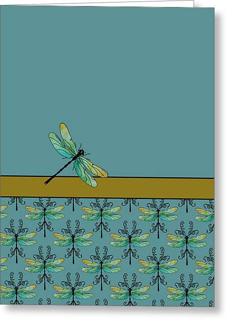 Dragon Fly Nouveau Greeting Card by Jenny Armitage