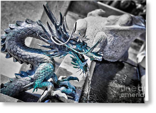 Shinto Greeting Cards - Dragon fountain Greeting Card by Delphimages Photo Creations