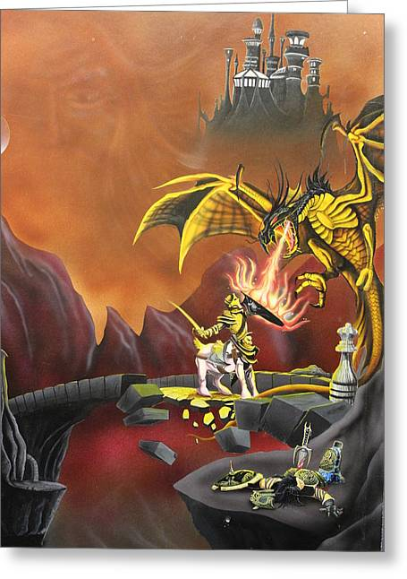 Dungeons Paintings Greeting Cards - Dragon Greeting Card by Gary Reising
