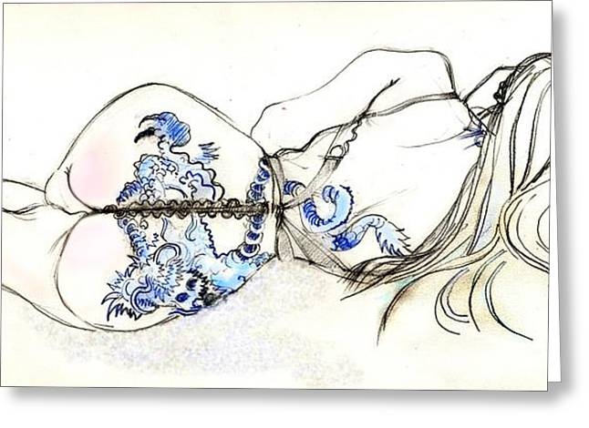 Artistic Nude Print Greeting Cards - Dragon Girl Greeting Card by Carolyn Weltman
