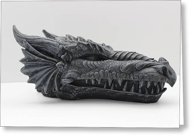 Oriental Sculptures Greeting Cards - Dragon head Greeting Card by FL collection