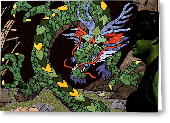 Dragon - Incognito Greeting Card by Kathy Bassett