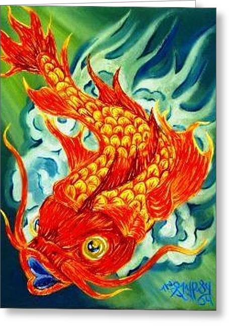 Gypsy Greeting Cards - Dragon Koi Greeting Card by The GYPSY And DEBBIE