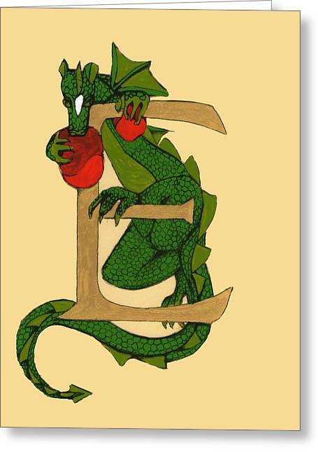 Illustrated Letter Greeting Cards - Dragon Letter E Greeting Card by Donna Huntriss