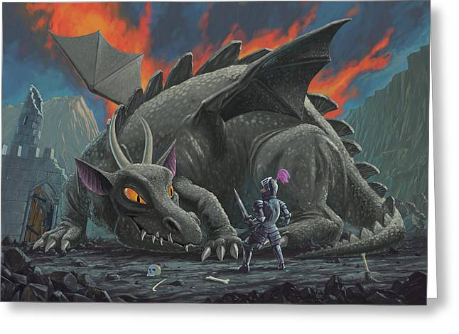 Frightening Castle Greeting Cards - Dragon Looking At Next Meal Greeting Card by Martin Davey