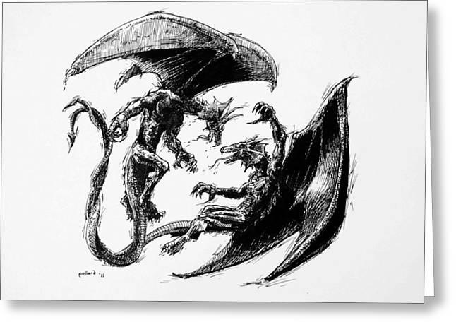 Dungeons Drawings Greeting Cards - Dragon Love Greeting Card by Glenn Pollard