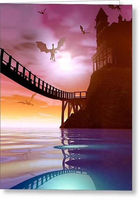 Spectrum Greeting Cards - Dragon Manor Greeting Card by Cynthia Decker
