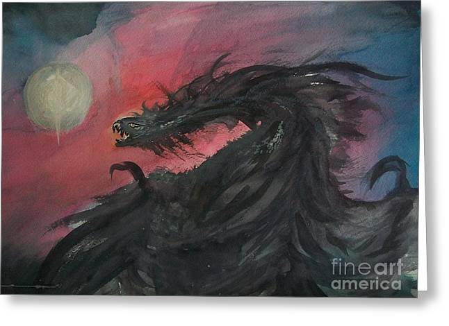 Flying Animal Drawings Greeting Cards - Dragon Night Greeting Card by Richard Wright Galleries
