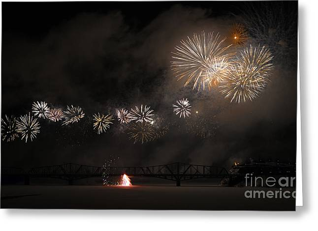 Fire Works Greeting Cards - Dragon of Light.. Greeting Card by Nina Stavlund