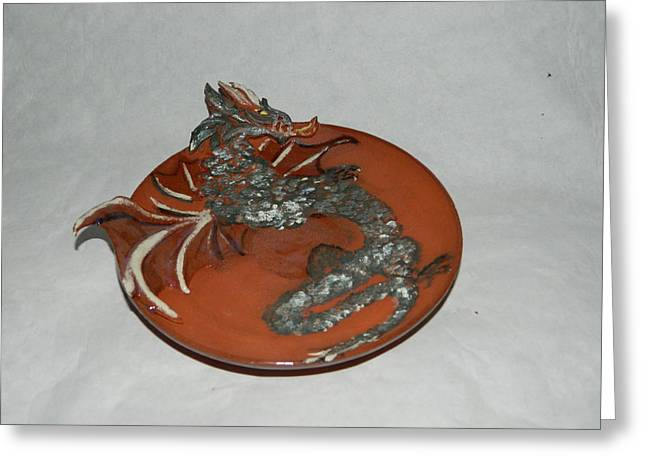 Fantasy Ceramics Greeting Cards - Dragon plate Greeting Card by Keramik Sonnenscheindesign