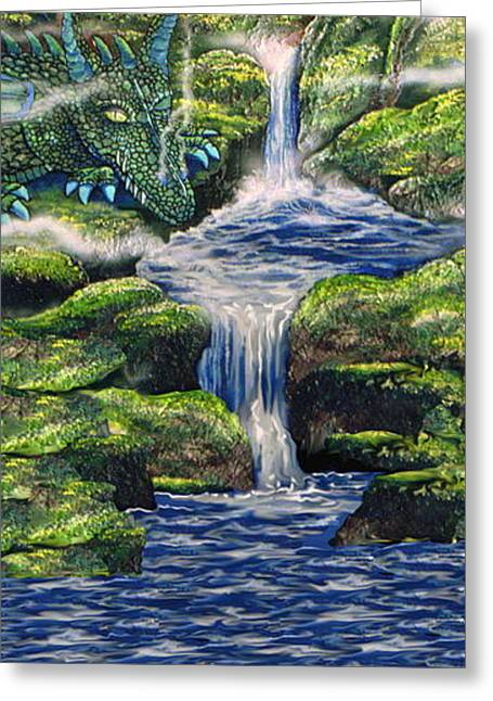 Mystical Landscape Greeting Cards - Dragon Resting Greeting Card by Mario Labonte