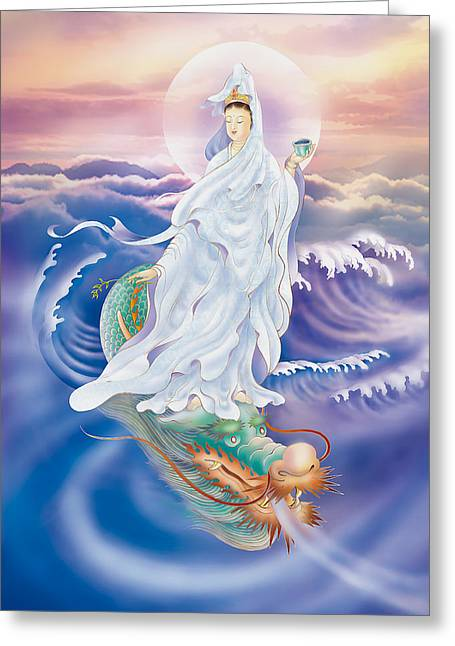 Kuan Greeting Cards - Dragon-riding Avalokitesvara  Greeting Card by Lanjee Chee