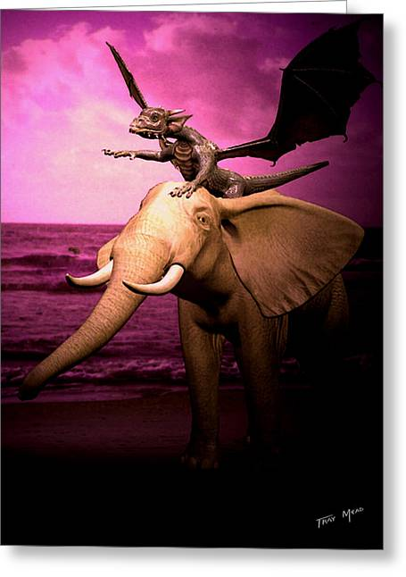 Tray Mead Greeting Cards - Dragon Riding Elephant Greeting Card by Tray Mead
