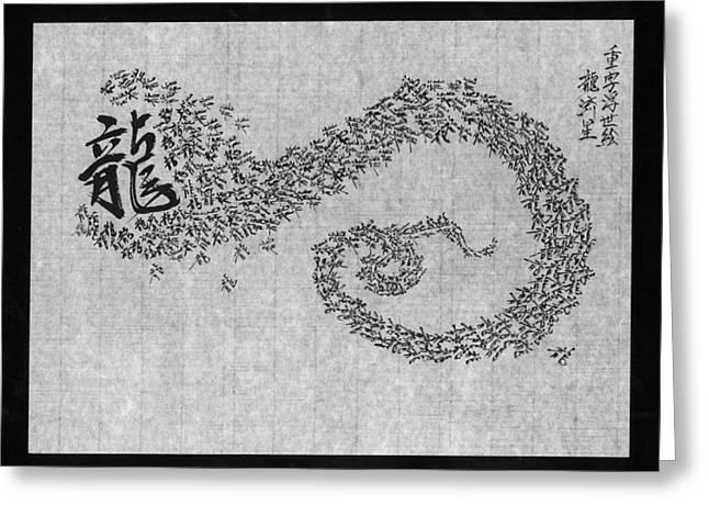 Stipple Paintings Greeting Cards - Dragon Shooting Star Greeting Card by Kim Kimura