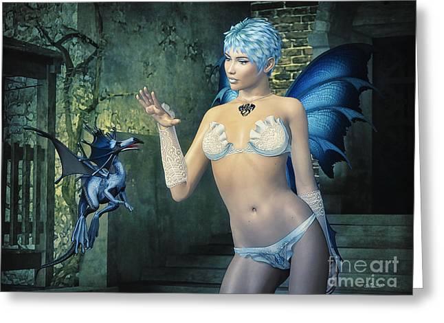Tamer Greeting Cards - Dragon Tamer Greeting Card by Jutta Maria Pusl