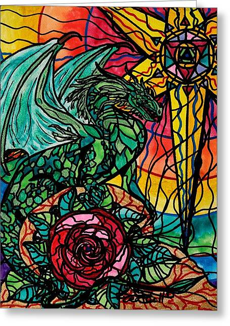 Allopathy Paintings Greeting Cards - Dragon Greeting Card by Teal Eye  Print Store